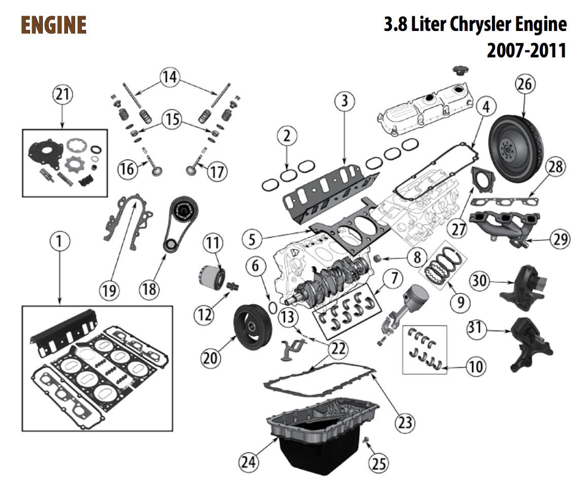 Jeep JK 3.8L Engine Parts