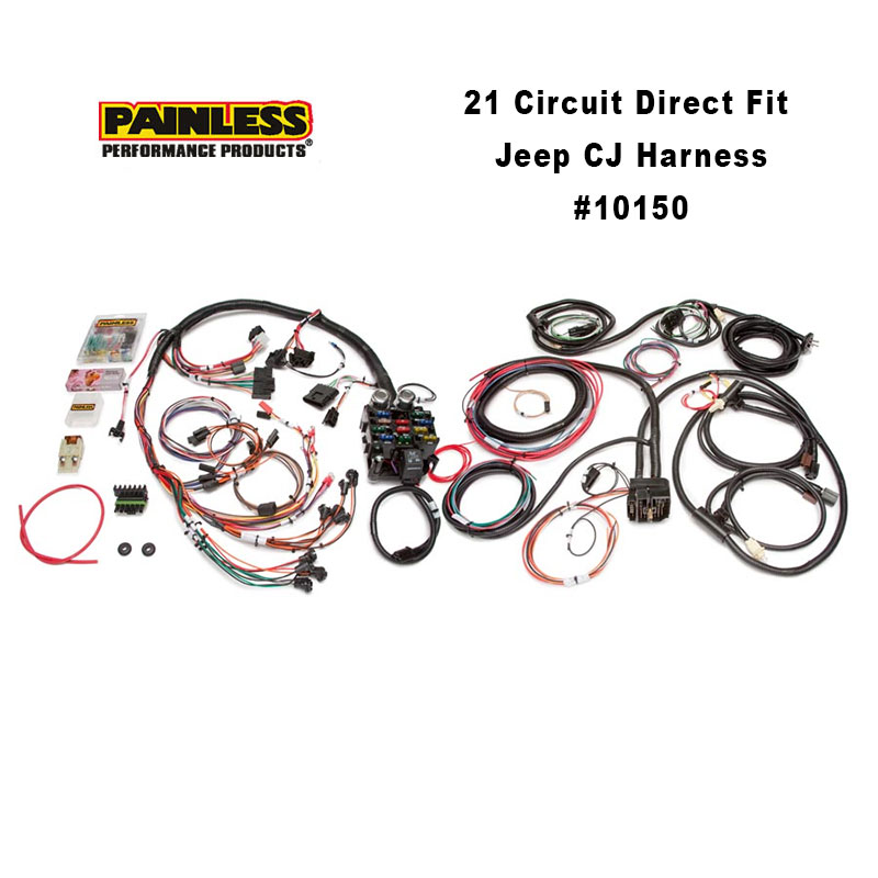 painless wiring harness diagram for jeep painless performance 21 circuit direct fit harness | 10150 power wheel wiring harness diagram for jeep