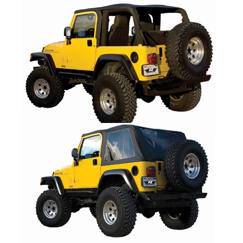 Frameless Soft Top with Tinted Windows 97-06 Wrangler TJ Black Diamond