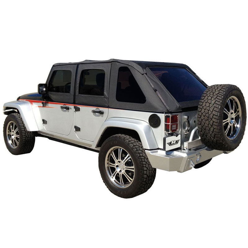 Frameless Trail Top with Tinted Windows, Black Diamond Sailcloth, 07-15 Wranglers 4 Doors