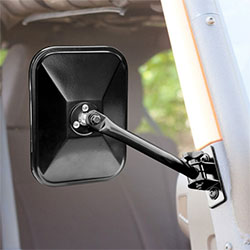 Rectangular Quick Release Mirror Pair, Black, 97-15 Wrangler