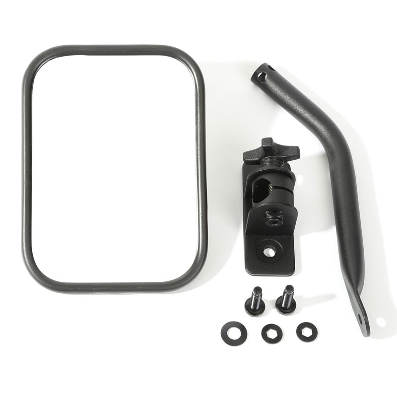 Quick Release Mirror, Rectangular, Textured Black, 97-15 Wrangler