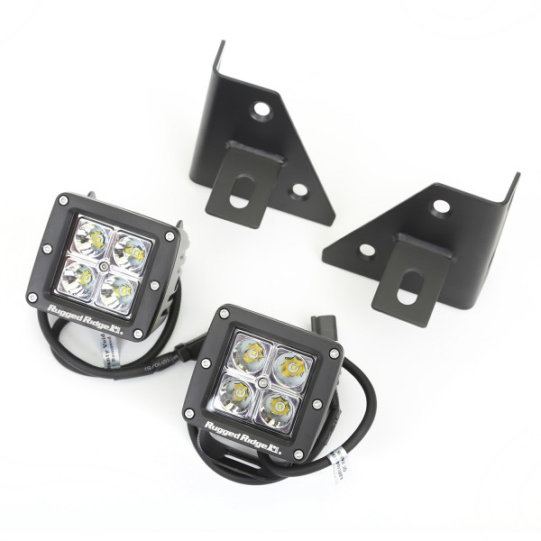 3 inch Square LED Light with Windshield Bracket, 76-95 CJ and Wranglers
