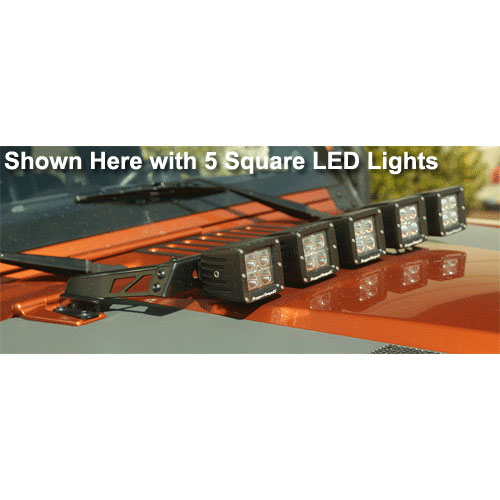 Hood Light Bar with 5 Square LED Lights, 07-17 Wrangler