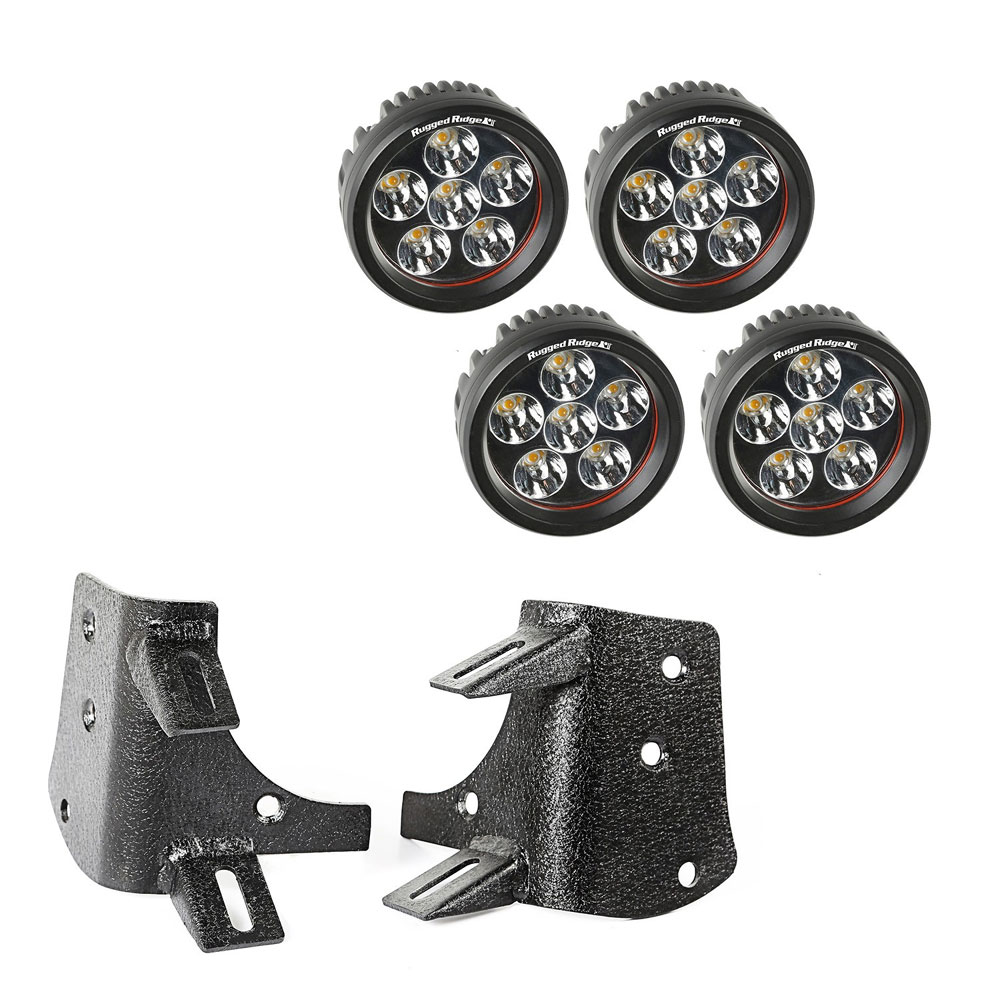 Dual A-Pillar LED Kit, 3.5 inch Round LED Lights, 97-06 Jeep Wrangler