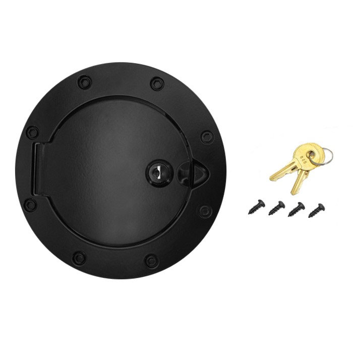 Locking Gas Cap Door 07-18 Wranglers, Black Aluminum