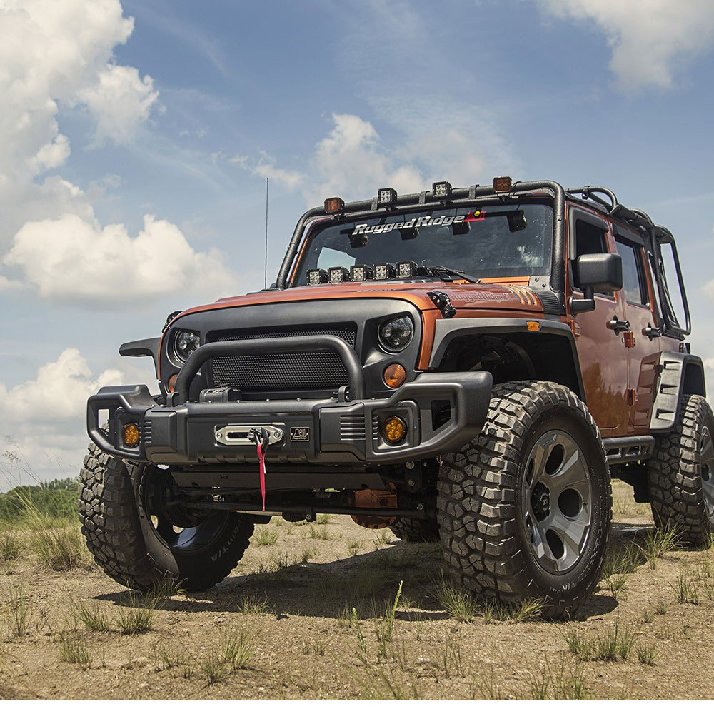 Jeep Jk Bumpers : Jeep jk spartacus bumper kit winch plate tire carrier grille