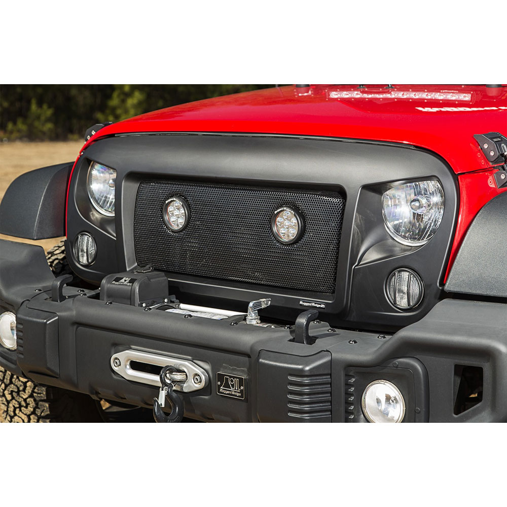Spartan Mesh Grille with LED Lights, 07-17 Wranglers JK