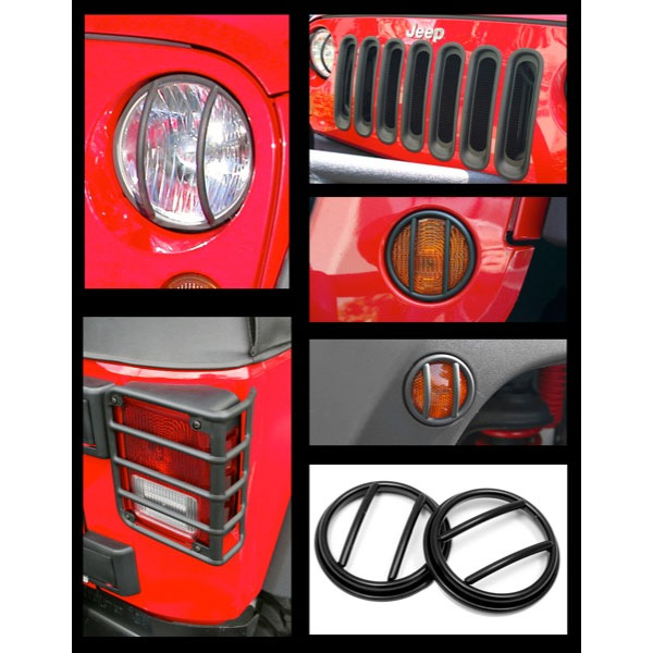 Euro Light Guards Headlight Bezels Grille Inserts 07-16 Wranglers