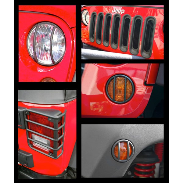 Euro Light Guards with Headlight Bezels Grille Inserts 07-17 Wranglers