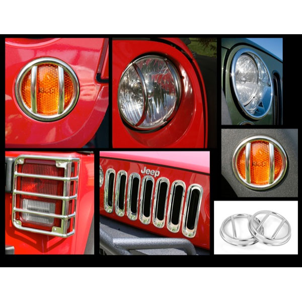 Euro Light Guards with Headlight Bezels Grille Inserts Fog Lights Guards 07-17 Wranglers