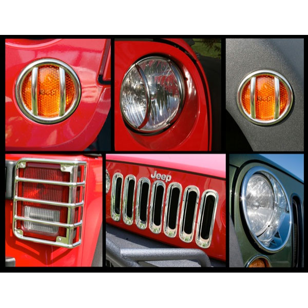 Euro Light Guards Headlight Bezels Grille Inserts 07-15 Wranglers Stainless