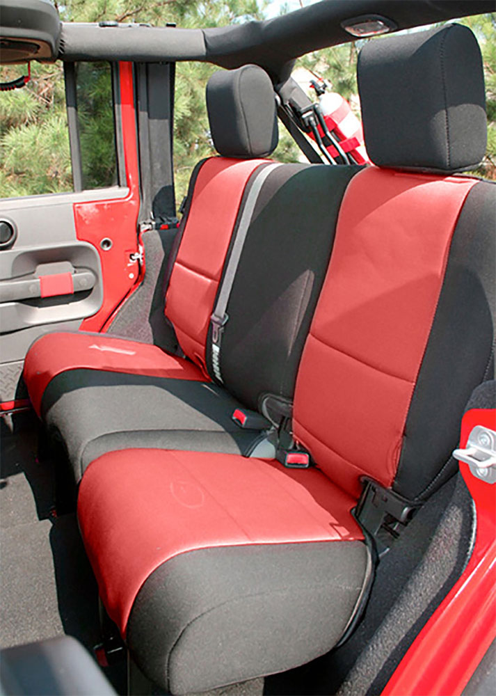 2007-10 Jeep JK Wrangler Seat Cover Kit 4 Doors Black Red