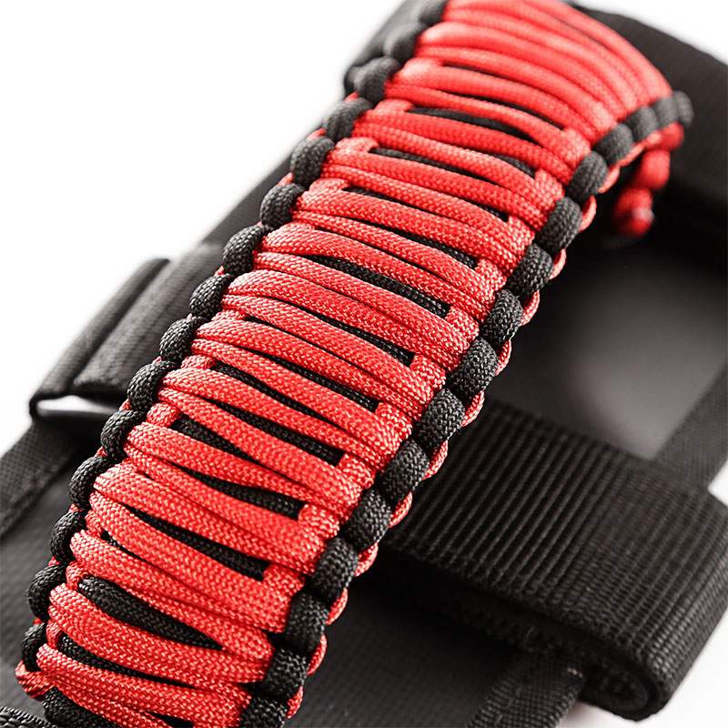 Paracord Grab Handles, Red on Black