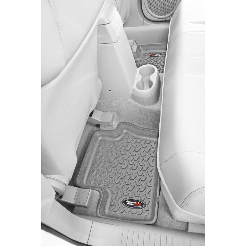 2nd Row Floor Liners, Gray, 08-13 Jeep Liberty