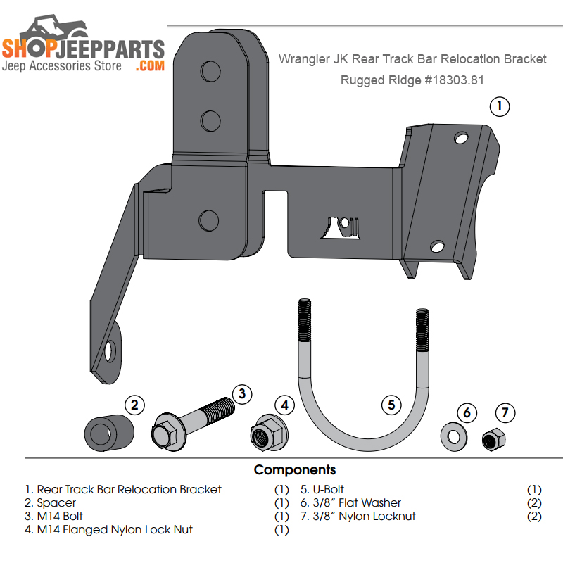 Rugged Ridge 18303.81 Rear Track Bar Relocation Bracket, 07-17 Jeep Wrangler JK 1 Pack