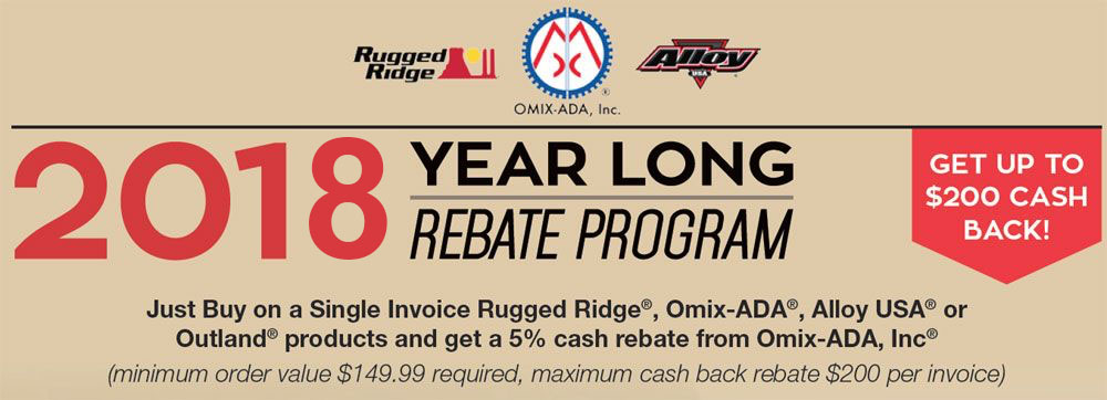 2018 Omix-Ada Cash Rebate