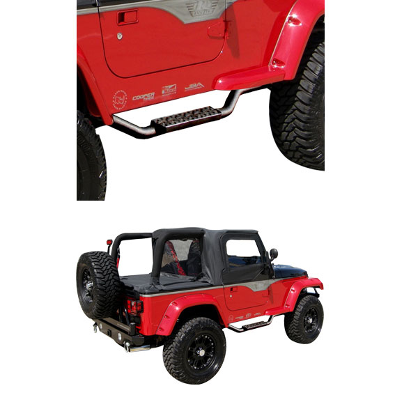 Slimline 2'' Side Bar With Recessed Step, Textured Black, 97-06 Wranglers