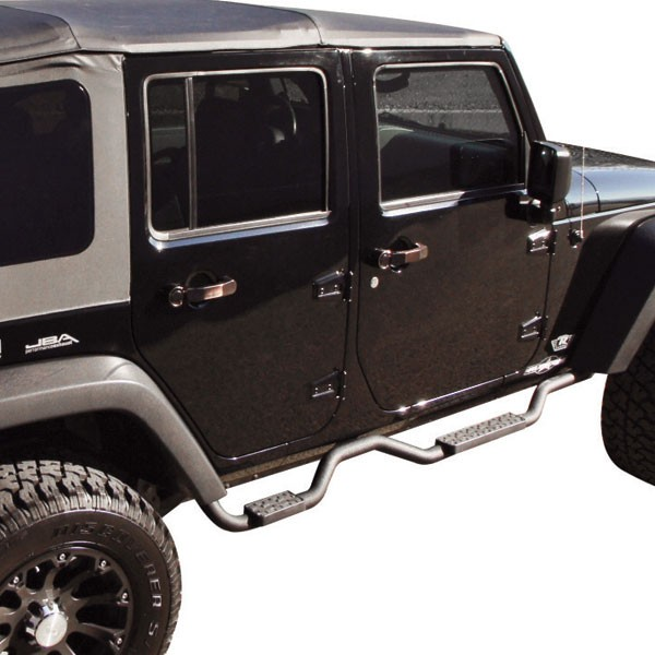 Slimline 2'' Side Bars, Textured Black, 07-18 Wranglers 4 Doors