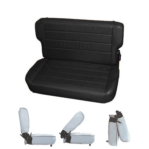 Fold & Tumble Rear Seat 97-06 Wrangler Black Denim