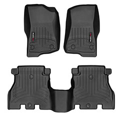 Jeep Wrangler JL Front Rear Floor Liners, 4 Doors, Black