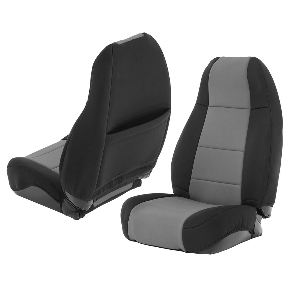 1976-90 Jeep CJ Wrangler Neoprene Seat Cover Set, Black/Charcoal