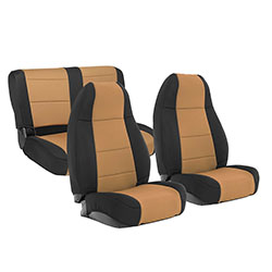 1976-90 Jeep CJ Wrangler Neoprene Seat Cover Set, Black/Tan