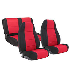 1976-90 Jeep CJ Wrangler Neoprene Seat Cover Set, Black/red
