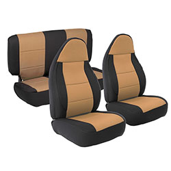 1997-02 Wrangler Neoprene Seat Cover Set, Black/Tan