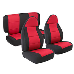 1997-02 Wrangler Neoprene Seat Cover Set, Black/Red