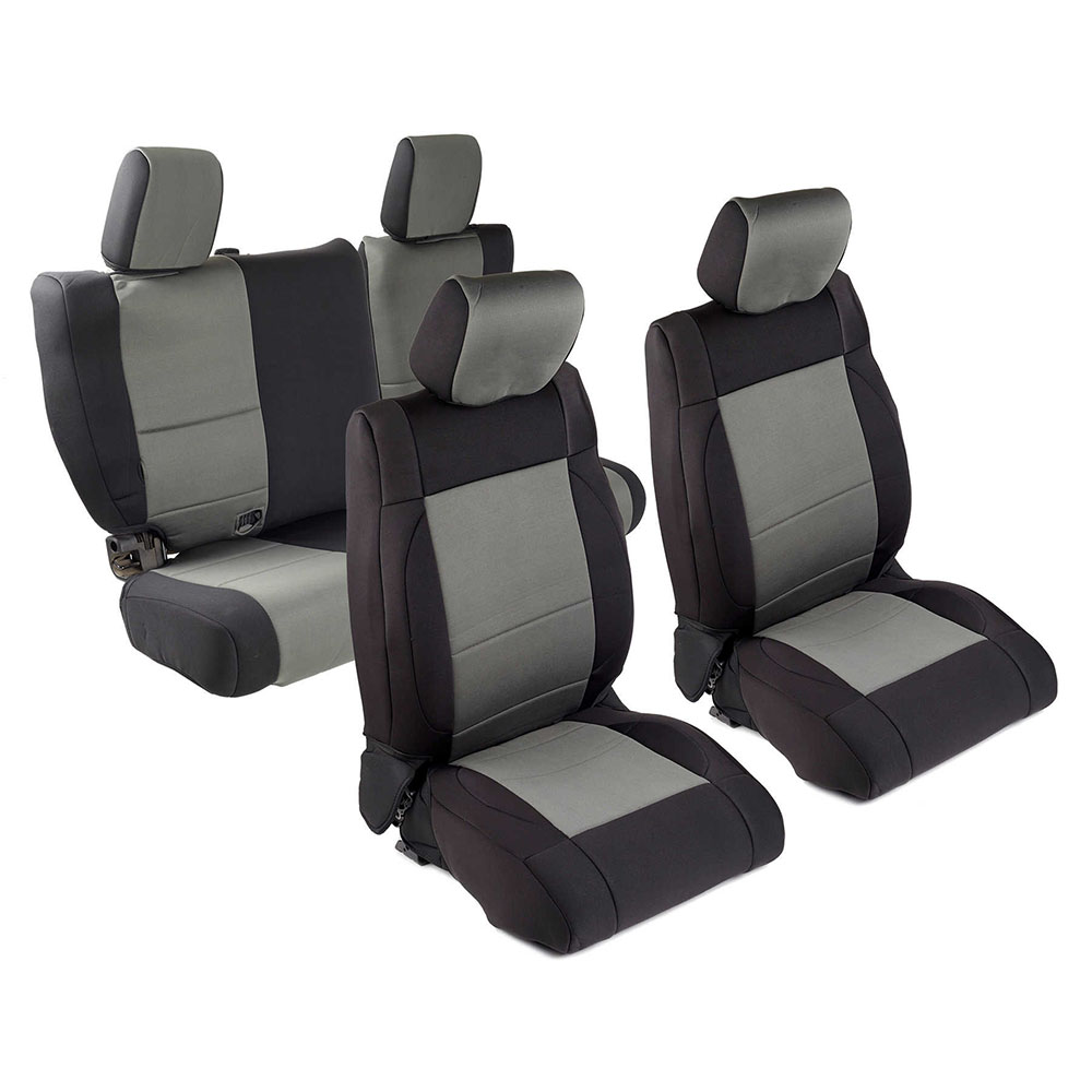 2013-18 Wrangler 4 Door Neoprene Seat Cover Set, Black/Charcoal