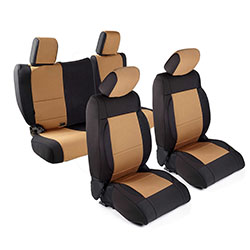 2007 Wrangler Unlimited Neoprene Seat Cover Set, Black/Tan