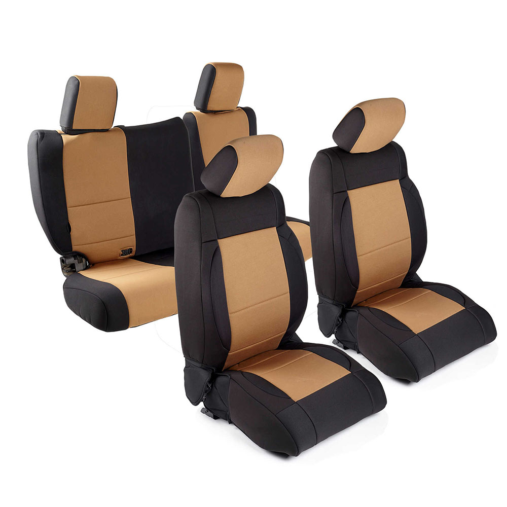 2013-18 Wrangler 2 Door Neoprene Seat Cover Set, Black/Tan