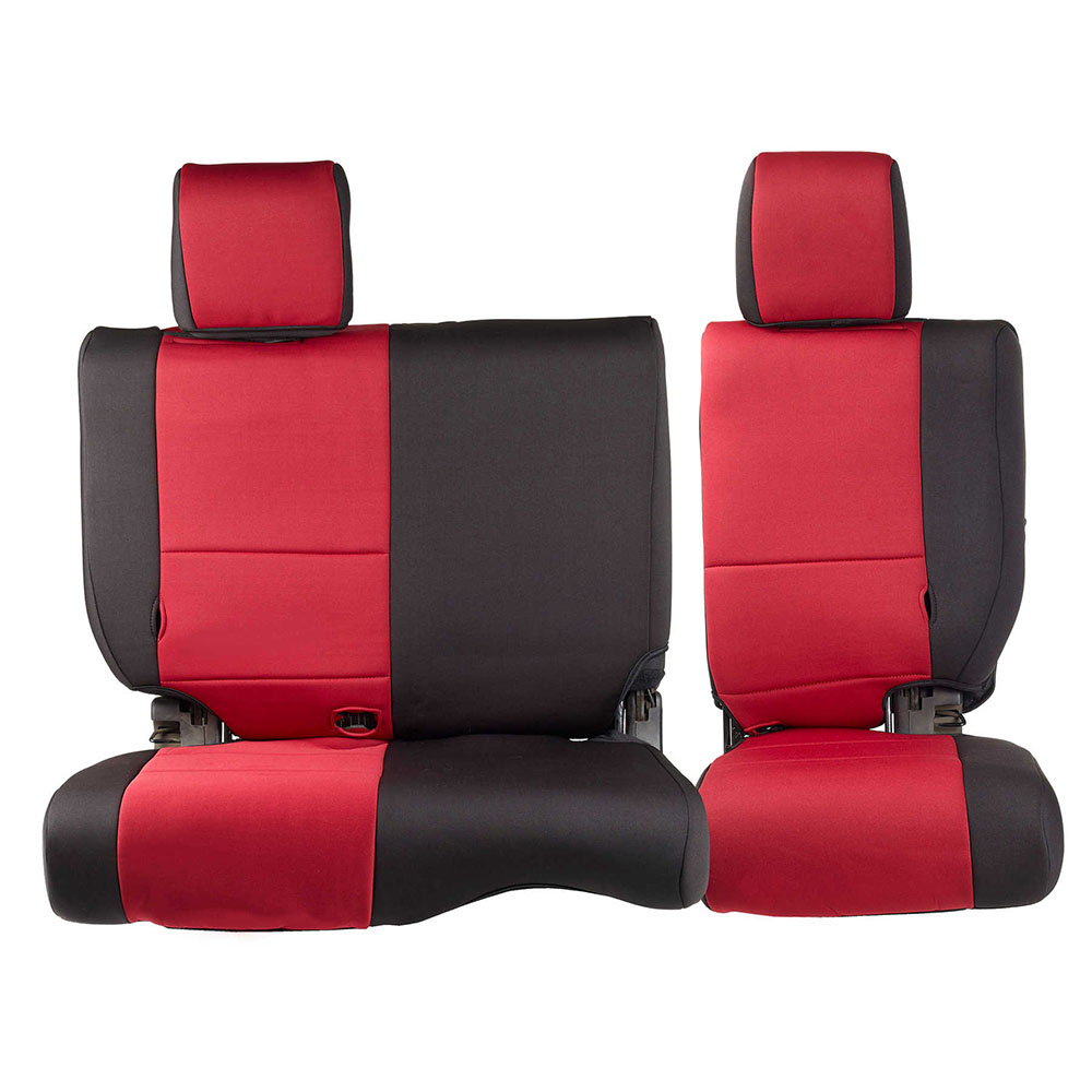 2013-18 Wrangler 4 Door Neoprene Seat Cover Set, Black/Red