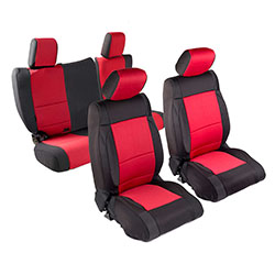 2007 Wrangler 4 Door Neoprene Seat Cover Set, Black/Red