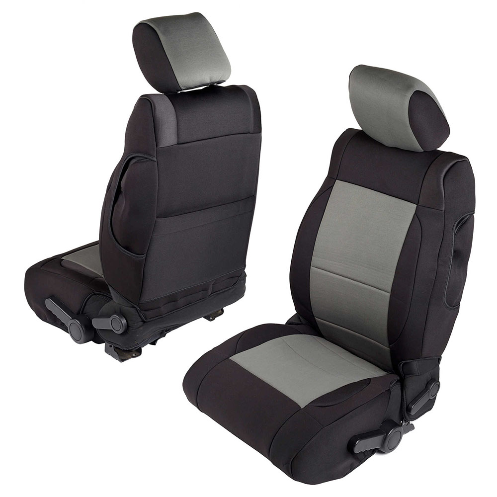 2007 Wrangler 4 Door Neoprene Seat Cover Set, Black/Charcoal