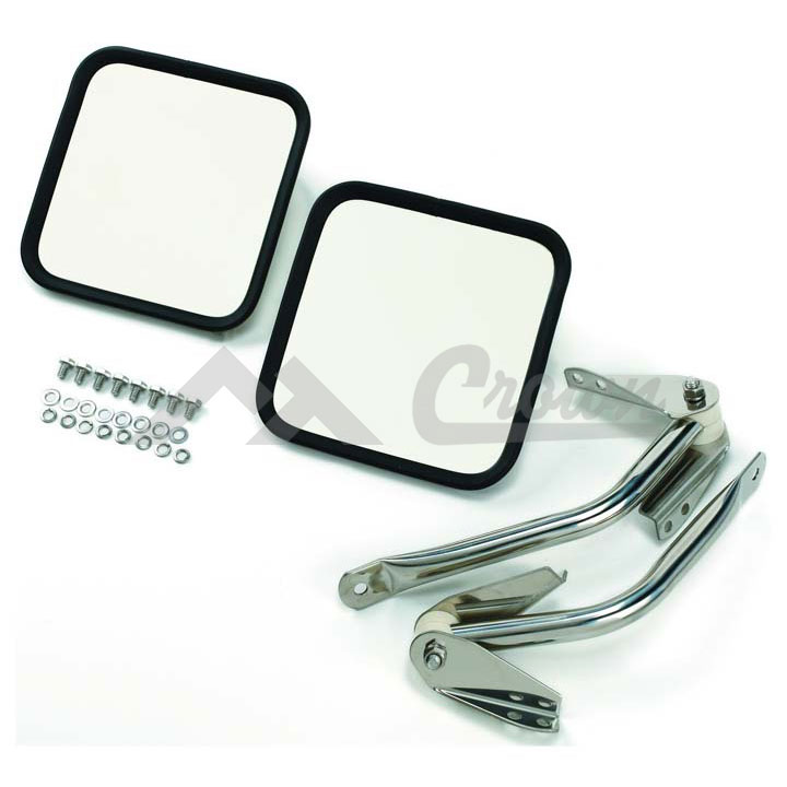 Mirror Kit 55-95 CJ and Wranglers, Stainless Steel