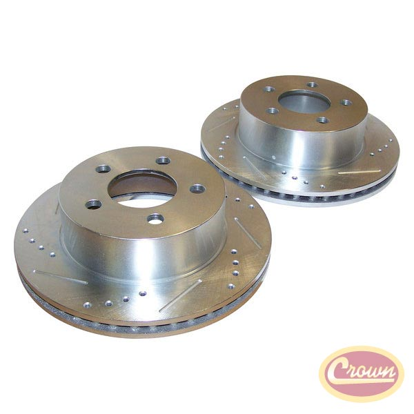 Front Drilled and Slotted Brake Rotors 99-06 Wrangler, Cherokee