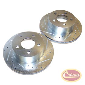 Front Drilled and Slotted Brake Rotor Set 90-99 Wranglers