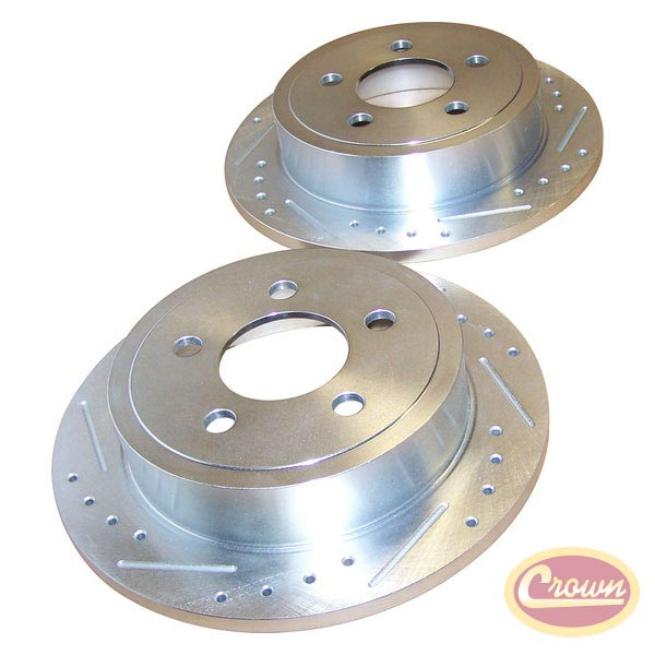 Rear Brake Rotors, Drilled and Slotted, 03-07 Liberty