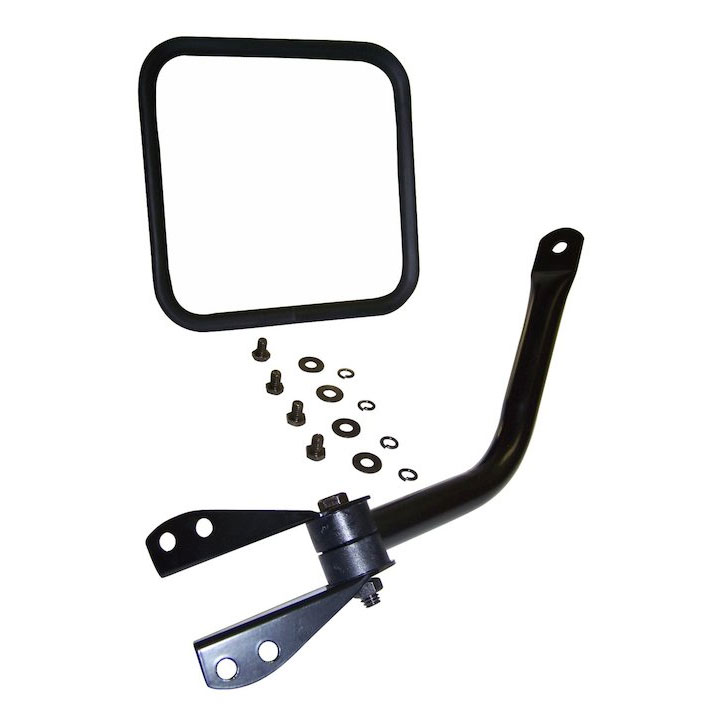 Mirror and Arm Kit, Left, Black, 55-86 Jeep CJ