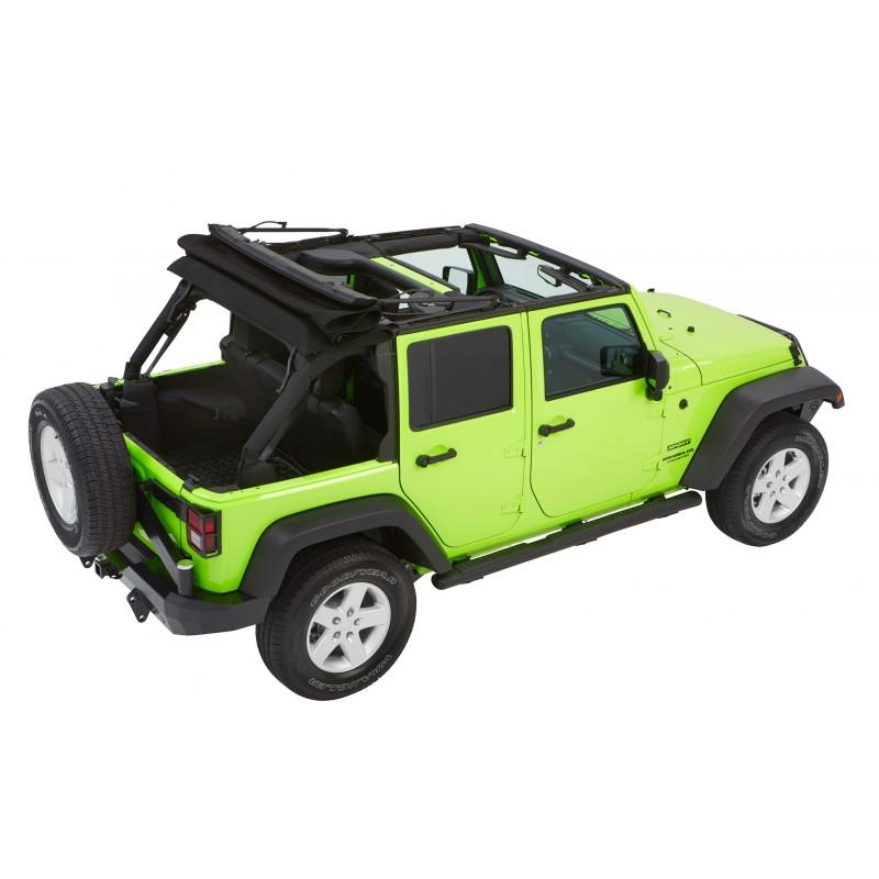 Trektop Nx Glide >> Bestop Products 54923-17 - Bestop Trektop NX Glide Soft Top, Black Twill, 07-17 Wranglers JK 4 Doors