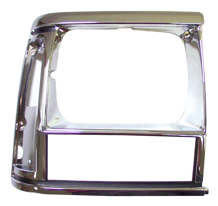 Headlamp Bezel, Right, Black/Chrome, 91-96 Cherokee XJ