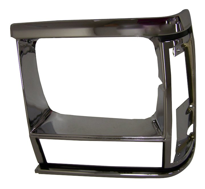 Headlamp Bezel, Left, Black/Chrome, 91-96 Cherokee XJ