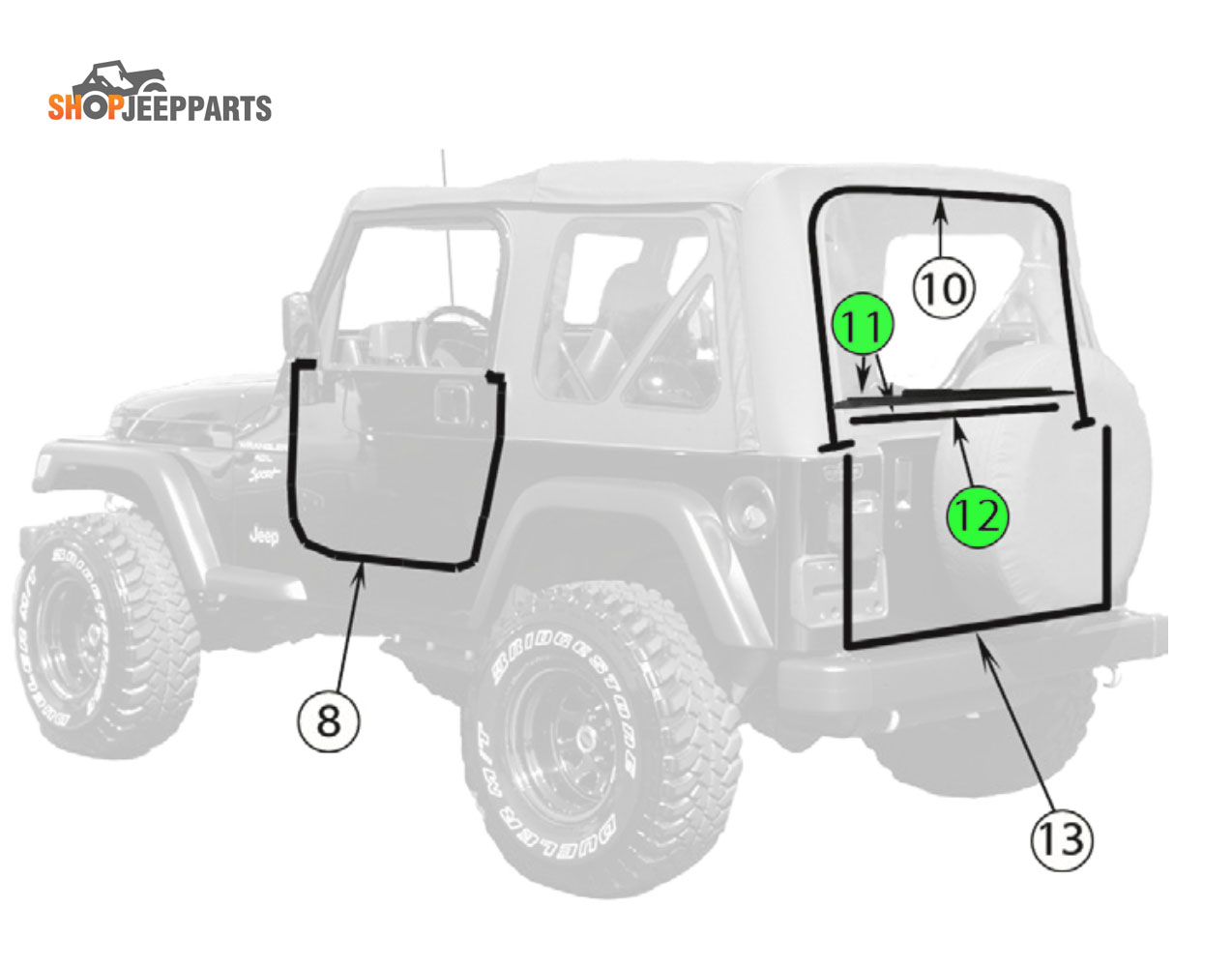Jeep TJ Liftgate Weatherstrip Kit
