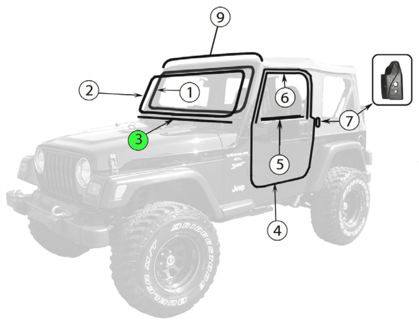 Jeep TJ Wrangler Windshield Frame to Cowl Seal