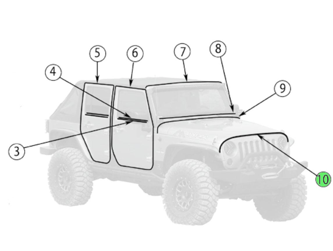 Jeep Wrangler Jk Hood To Grille Seal