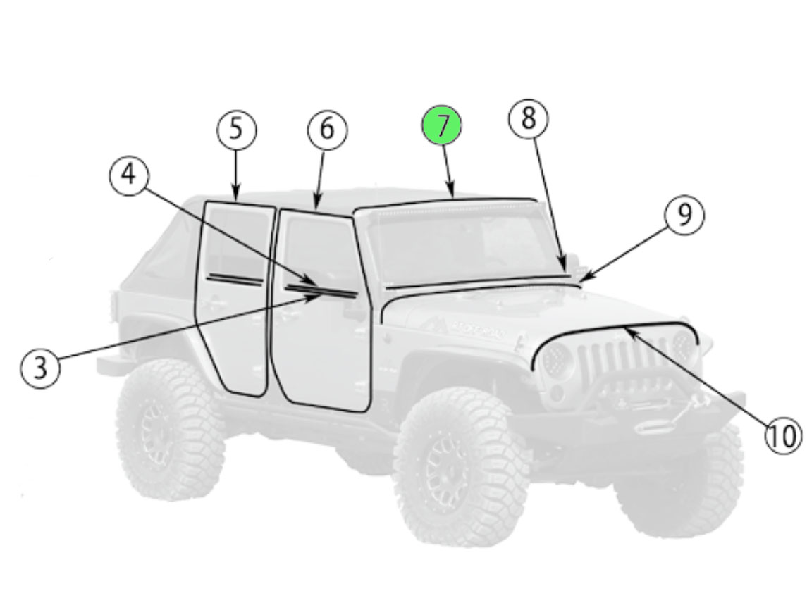 Jeep JK Wrangler Seals Windshield Frame To The Hard or Soft Top