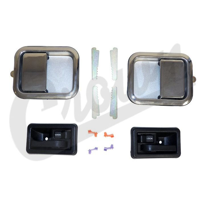 Jeep Full Steel Door Handle Kit, Chrome, CJ YJ TJ