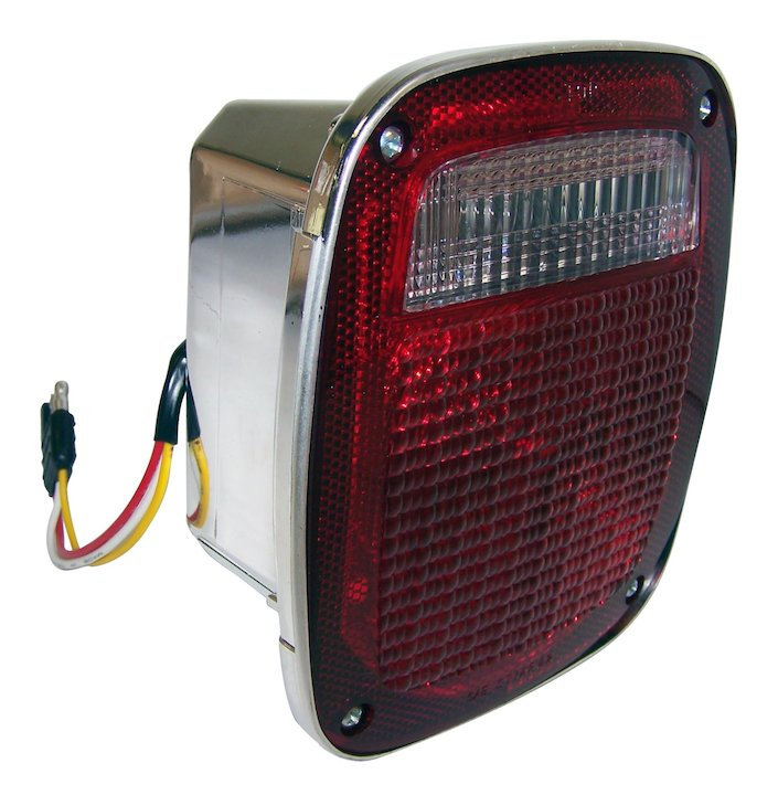 Right Tail Lamp with Side Marker, Chrome, 81-86 Jeep CJ